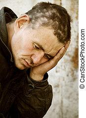 desabrigado, homem, desespero