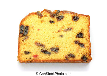 fruitcake - I took a fruitcake of one slice in a white...