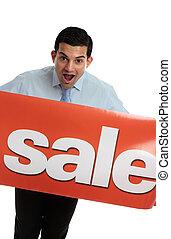 Mann, Verkauf, ekstatisch, zeichen