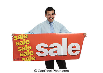 Excited man holding a Sale sign - An excited man holding a...