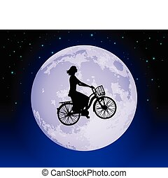 Magic bicycle - Woman cycling past the moon on a magic...