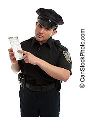 Police officer or traffic warden with infringement ticket -...