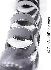 35mm film negative - 35mm film spiral on white background