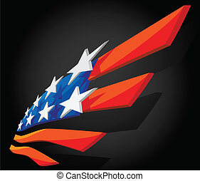 Abstract American flag - 3D Abstract symbol of American flag