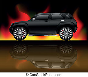Black sports utility vehicle with flame background