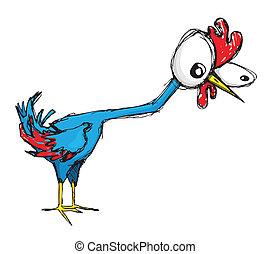 Clueless chicken - Clueless red and blue cartoon chicken...