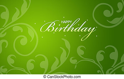 Green Happy Birthday Card - Green happy birthday card with...