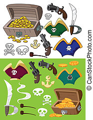pirate set outlined - illustration of a pirate set