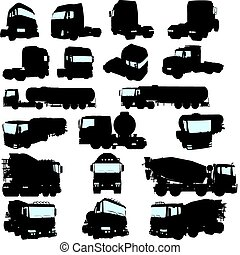truck set - Big collection of high detail trucks silhouette...