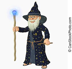 old wizard - 3d render of a old wizard