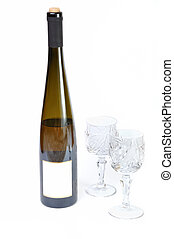 Bottle of wine with two glasses isolated in white