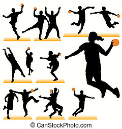 Handball Players Silhouettes Set