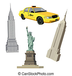 New York City Symbols - Illustration with Statue of Liberty,...