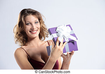 attractive woman open gift box