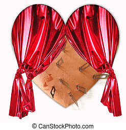heart - A heart wirh scalpels and a red curtain