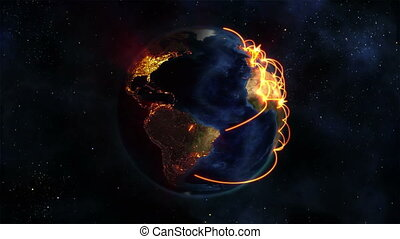Lighted Earth turning on itself with orange connections in...