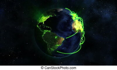 Lighted Earth turning on itself with green connections in...