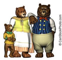 Well dressed bears - A family of well dressed cartoon bears...