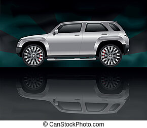 Silver sports utility vehicle with reflection on black
