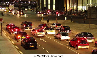 traffic on a city night - a time laps video of traffic in...