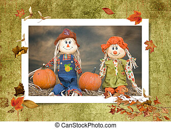 autumn scarecrow couple - Scarecrow couple with autumn...