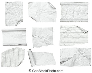 white crumpled paper with curled edge - collection of...