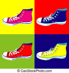 Teenager sneakers background - Colorful teen sneakers on...