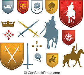 colour medieval, mediaeval icons and emblems - shields,...