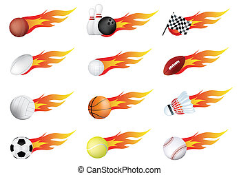 sports balls of many types on fire with flames - sports...