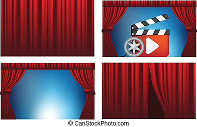 cinema or theatre cutains opened and closed - cinema,...