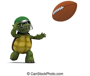 Tortoise throwing an american football - 3D Render of a...