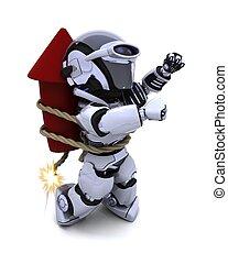 Robot lighting a firework - 3D Render of a Robot lighting a...