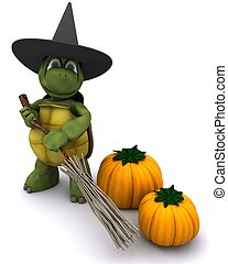 tortoise dressed as a witch for halloween - 3D Render of a...