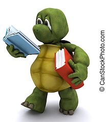 Tortoise reading a book - 3D Render of Tortoise reading a...