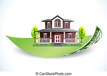 Home Loan - illustration of house on dollar note on abstract...