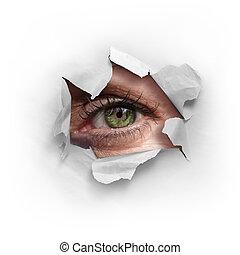 Peek Through a Hole - Female green eye looking through a...