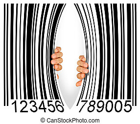 Torn Bar Code - Big bar code torn apart in the middle by two...