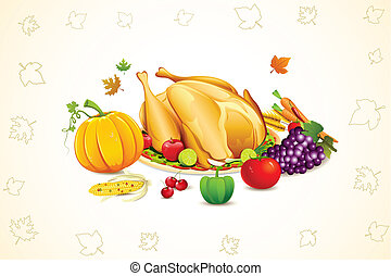 Thanksgiving Card - illustration of fruits and vegetable...