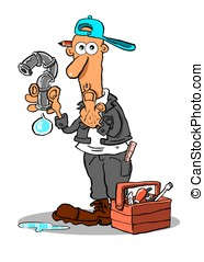 Dick.WBG. - Cartoon of confused plumber on white background