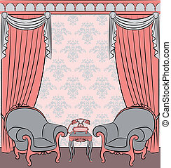 The vintage interior with curtain. - Vector illustration...