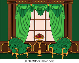 curtain and furniture.
