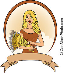 Beautiful girl with sheaf of wheat Vector