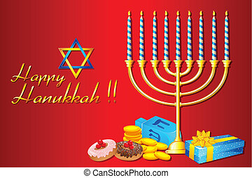 Hanukkah Menorah - illustration of burning candle in...