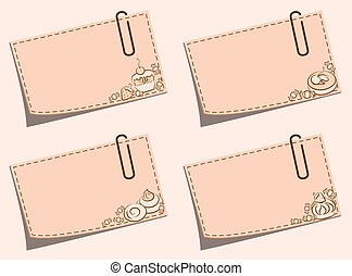 Paper notes with sweet cakes and push pin. Vector