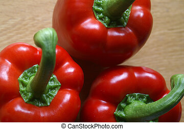 Red Peppercapsicum - Three red peppercapsicum in natural...