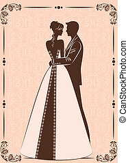 beautiful bride and groom - Vector Illustration of beautiful...
