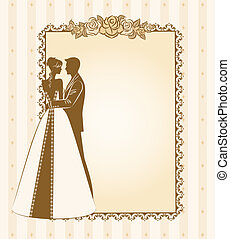 bride and groom's silhouette - Illustration of beautiful...