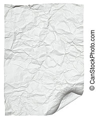 white crumpled  paper with curled edge
