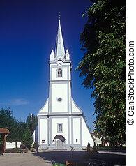 Reformation church in Tyachiv, Ukraine. - Protestant...