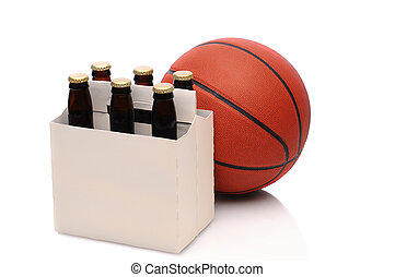 Basketball and six pack of beer - Six pack of beer bottles...